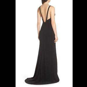 Mac Duggal Dresses - Mac Duggal Plunge Neck Slit Jersey Gown